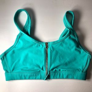 Aerie Teal Zip Front Sports Bra Large